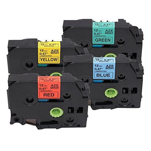 Markurlife 4 Pack Kombi-Set Klebebandkassette Etikettenband Schriftbänder Kompatibel für Brother P-touch Tz-431/531/631/731 (12mm x 8m) Tze 431 ~ 731
