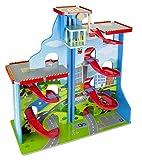 Weltkarte Parkplatz Mit Aufzug Und 9 Sportwagen Holz PARKHAUS PARKPLATZ Kinder Auto Garage Parkhaus, mit Kurbel-Aufzug, Hubschrauberlandeplatzfür Kinder ab 3 Jahre