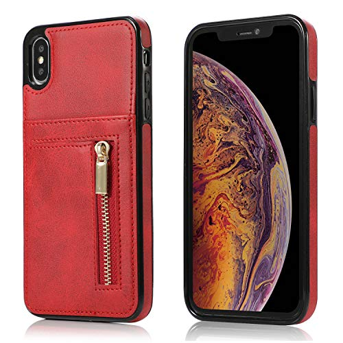 Yobby Hülle für iPhone XS Max,Ultra Slim Retro PU Leder Brieftasche Handyhülle mit Kartenfach Rückseite und Reißverschluss,Stoßfest Bumper Schutzhülle für iPhone XS Max-Rot -