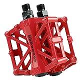 Mountain Bike Pedali in Lega di Alluminio Piattaforma per Strada BMX Biciclette Fixed Gear 9/16 (rosso)