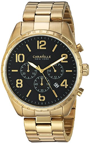 Caravelle New York Mens Analog Quartz Watch with Stainless-Steel Strap 44B114