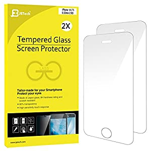 JETech 0314, Paquete Premium vidrio templado de protector de pantalla para iPhone SE/5s/5c/5, paquete de 2