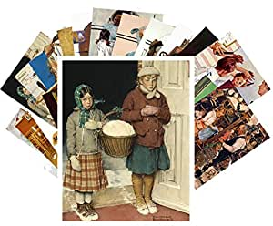Carte Postale 24pcs Norman Rockwell Vintage Illustration Pretty Girls Everyday Life