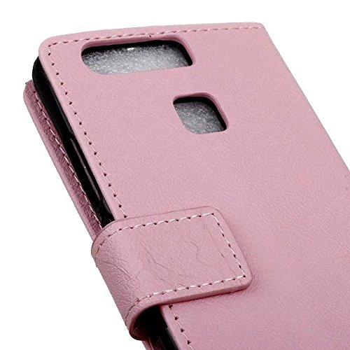 Solid Color Kas Textur Muster Leder Schutzhülle Case Horizontal Flip Standplatz Fall mit Kartennuten für Huawei P9 ( Color : Black , Size : Huawei P9 ) Pink