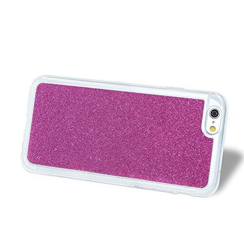 Für iPhone 7 4.7 Zoll Schrittweise Farbwechsel TPU Cover, Herzzer Bling Glitter Schutz Hülle mit Liebe Herzen Ring Halter, Luxus Sparkles Glänzend Glitzer Silikon Crystal Case Durchsichtig Soft Rückse Rose Rot