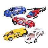 Dilwe Spielzeugautos und Hubschrauber, Mini 1/55 Die-Cast-Legierung Spielzeugautos Set zurückziehen Auto Hubschrauber Flugzeug Fahrzeug viel für Kleinkind Kinder