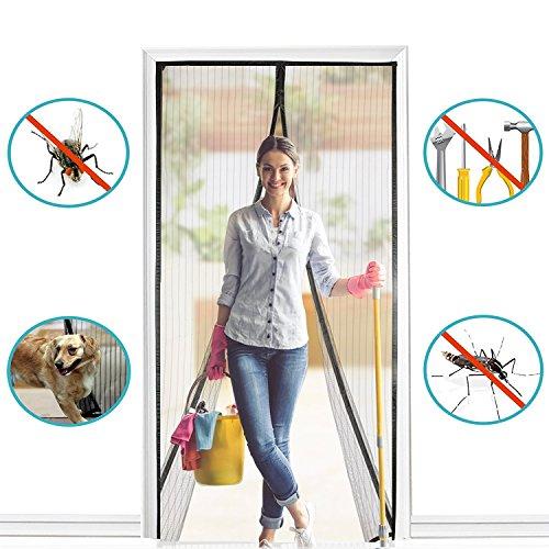 BALFER Magnet Fliegengitter Tür Insektenschutz Vorhang 90x210cm Magnet Fliegenvorhang, Klebmontage ohne Bohren, Vorhang für Balkontür Wohnzimmer Schiebetür Terrassentür (Gitter Magnetische Tür)