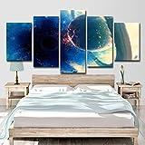 ZHAOCAI Modern Home Wandkunst Dekor Rahmen Bilder 5 Stücke Planeten Kollision Schwarzlicht Ball Abstrakte Landschaft Pai