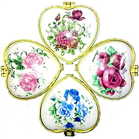 A forma di cuore floreale a rose in ceramica decorato Trinket anello Box gioielli vintage regalo compleanno Donna Collana Orecchini Braccialetto di Natale, Vassoio Mini Love San Valentino festa della mamma pillola