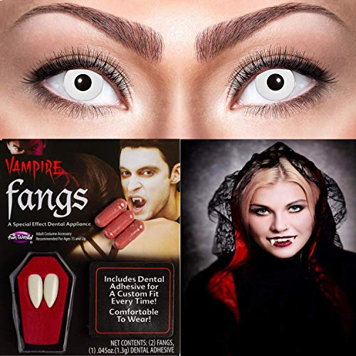 Zoelibat 10118537 Farbige Kontaktlinsen für 12 Monate, 2 Stück, Weiss, BC 8.6 mm/Dia 14.5 mm und Halloween Vampirzähne mit 3 Blutkapseln, farbechte Zähne/rotes Blut