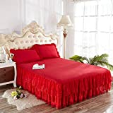 Zhiyuan Colcha con volantes y 2 fundas de almohada en encaje y microfibra 150x200x40cm, Rojo