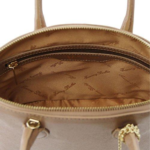 Tuscany Leather - TL KeyLuck - Borsa shopper in pelle Saffiano - TL141261 (Nude) Talpa scuro