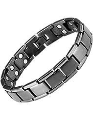 Willis Judd magnetische Doppelreihe Herren-Armband aus metal-grauen Titan in schwarzen Samtgeschenkpackung + kostenlose Gerät für Gliedentfernung