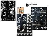 3 Sheets Tattoo Schablonen Vorlagen Henna Designs für Körperbemalung Nelle 3