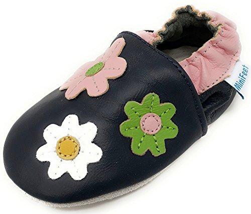 Mädchen Echte Leder (MiniFeet Premium Weiche Leder Babyschuhe, Blumen 12-18 Monate)