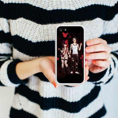 Apple iPhone 5s Housse Étui Protection Coque Valentine mystérieuse Bande dessinée Garçon et fille Housse en silicone blanc