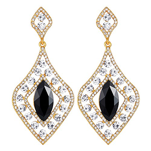 Flapper Art Deco Partei Abendkleid Strass Schwarz Kristall Rautenförmige Große Gold Statement Ohrringe Ohrschmuck