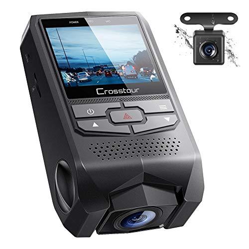 Crosstour Vorne und Hinten Dual Dashcam FHD 1080P Mini Autokamera DVR mit G-Sensor, HDR, Loop Recording, Bewegungserkennung, Parkmodus, Bildschirmrotation