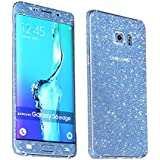 Heartly Sparking Bling Glitter Crystal Diamond Protective Film Whole Body Phone Skin Sticker For Samsung Galaxy S6 Edge SM-G925 - Light Blue