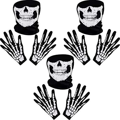 Tatuo Guantes de Esqueletos Blancos y Máscara de Cara de Calavera Huesos de Fantasmas para Adultos Halloween Fiesta de Disfraz de Danza (3)