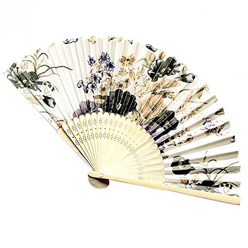 XIAOHAIZI Handfächer,Pflanze Blume Beige Hintergrund Retro Chinesischen Stil Thema Faltfächer Drucken Kirschblüte Tasche Hand Fan Sommer Kunsthandwerk Geschenk