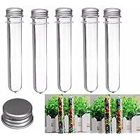 10 tubos de ensayo de plástico transparente con dispensador de tapón (40 ml, 140 x 25 mm)