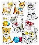 Stickerkoenig Wandtattoo 3D Sticker Wandsticker - niedliche Katzen, Katze Cats Kätzchen Set #555 Kinderzimmer Deko auch für Wände, Fenster, Schränke, Türen etc auf Bogen