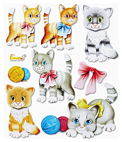 Stickerkoenig Wandtattoo 3D Sticker Wandsticker - niedliche Katzen, Katze Cats Kätzchen Set #555 Kinderzimmer Deko auch für Wände, Fenster, Schränke, Türen etc auf Bogen (Niedliche Kätzchen Auch)