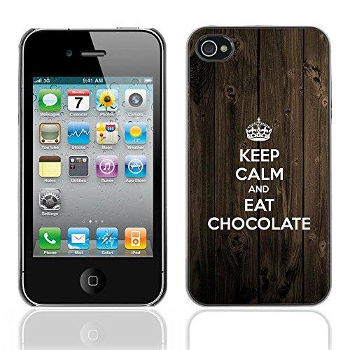 Graphic4You Keep Calm and Eat Chocolate Schokolade Design Harte Hülle Case Tasche Schutzhülle für Apple iPhone 4 und 4S Design #1