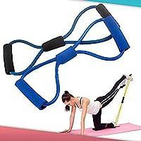Broadfashion Training Resistance Bands Rope Tube Workout Exercise for Yoga 8 Type Fashion Body Fitness (Random Colour)