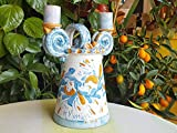 Candelabro in Ceramica Siciliana. Candeliere. Porta Candele Dipinto a mano. Le ceramiche di Ketty Messina.