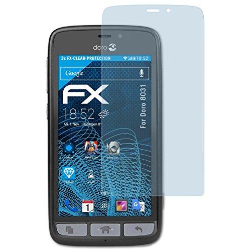 atFolix Displayschutzfolie für Doro 8031 Schutzfolie - 3 x FX-Clear kristallklare Folie