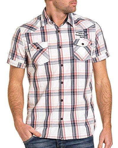 Petrol Industries - Chemisette pastel à carreaux et poche poitrine Blanc