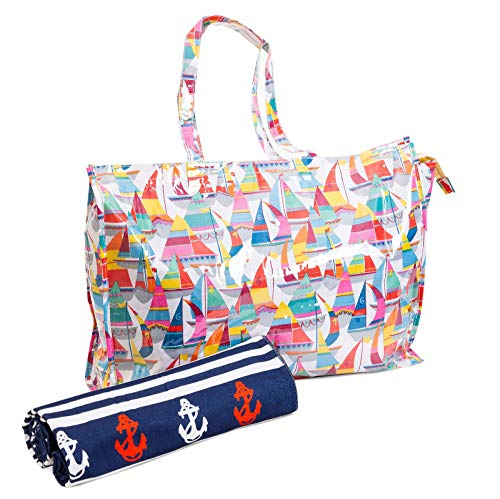 XXL Bolsa playa plastificada + toalla motivos marineros