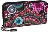 styleBREAKER Geldbörse mit Ethno Blumen und Blüten Muster, Vintage Design, Reißverschluss, Portemonnaie, Damen 02040040, Farbe:Schwarz-Rot-Pink