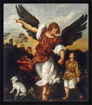 """Bild mit Rahmen: Tizian, """"Tobias und der Engel"""", 60 x 70 - Holz Fortuna L: Schwarz matt"""