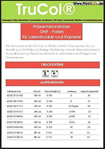 100 fogli di formato A4 OHP (lucidi carta trasparente) per stampanti laser  a colori, stampanti laser bianco / nero e copiatrici