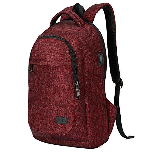 Preisvergleich Produktbild marsbro Business Reise Wasserabweisendes Polyester 39,6cm Laptop Rucksack weinrot