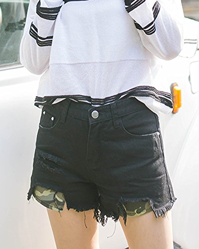 Femmes Vintage Denim Taille Haute Jeans Trou Courtes Jeans Hot Shorts Noir
