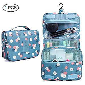 Chenqi Hanging Cosmetic Bag - Ampie valigette viaggio pieghevoli Scomparti portatili Organizer bagno Beauty Box spazzole toilette donna