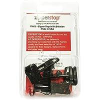 zipperstop soluzione all' ingrosso–Kit di riparazione con cerniera YKK Vislon 8modellata Pulls Slider Made in USA–3Sliders un tappo superiore e inferiore, colore: nero