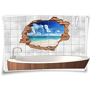 Fliesenaufkleber Fliesenbild Fliesenaufkleber Wanddurchbruch Strand Meer Bad, 90x60cm, 15x20cm (BxH)