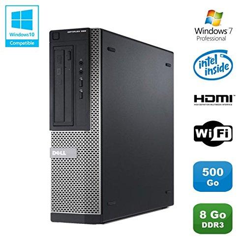 PC DELL Optiplex 390 DT G630 2.7Ghz 8Go 500Go Graveur DVD WIFI HDMI Win 7 Pro (Reconditionné Certifié Grade A)