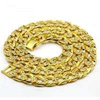 Hiphop Men's Alloy -Encrusted Necklace Rap Iceout Cuban Chain