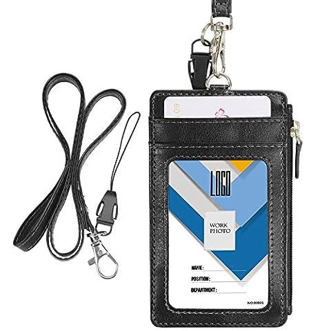 Wisdompro® Porte-badge vertical en similicuir avec 1fenêtre d'identification/4fentes pour cartes/1poche zippée sur le côté/1lanière tour de cou de 50cm noir