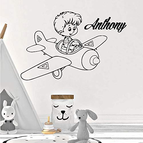 xinyouzhihi Nome Personalizzato Adesivi murali Aviatore Decorazioni in Vinile per la Camera dei Bambini Decorazioni per la Camera dei Bambini Adesivi murali ad71x71cm