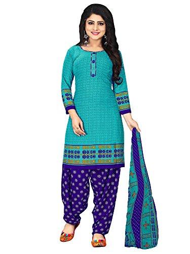 Mrinalika Fashion Women\'S Crepe Unstiched Dress Material ( Blue_Pjm29_Free Size )