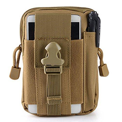 FiveloveTwo Multifunktional Tactical Bag Hüfttaschen Beintasche Reisen Klettern Radfahren und Joggen Gürtelbefestigung einstellbare EDC Molle Werkzeug Taille Pack Bag Tasche Khaki