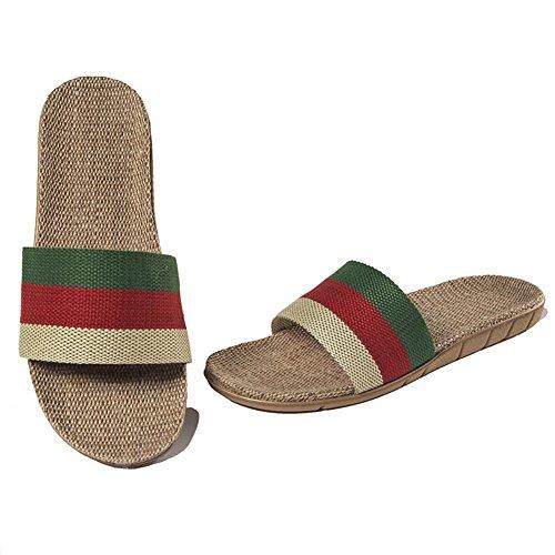 Oriskey Unisex Damen Herren Leinen Stripes Flache Hausschuhe Skidproof Haus Indoor Pantoffeln Sommer Green + Red + Beige