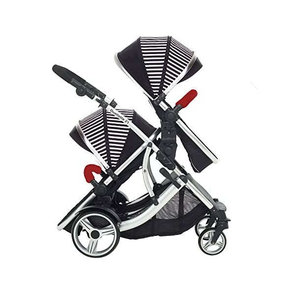 Kids Kargo Duellette Combi Tandem Double Twin pushchair (Oxford Stripe) for Newborn Twins Kids Kargo Fully safety tested Compatible with car seats; Kids Kargo, Britax Baby safe or Maxi Cosi adaptors. Versatile. Suitable for Newborn Twins:  carrycots have mattress and soft lining, which zip off. Remove lining and lid. 4
